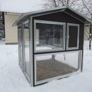 Клетки Профи 13 - Утеплённый домик-курятник с выгулом «Зимняя мечта» на 8-12 кур.