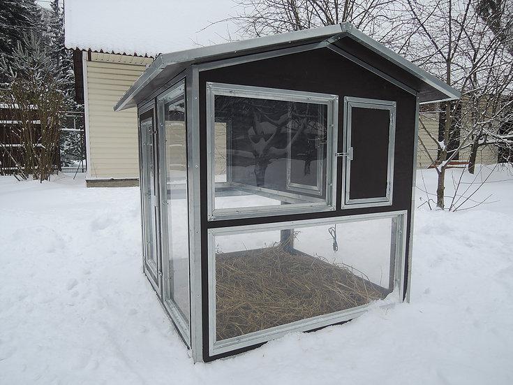 Клетки Профи 1 - Утеплённый домик-курятник с выгулом «Зимняя мечта» на 8-12 кур.