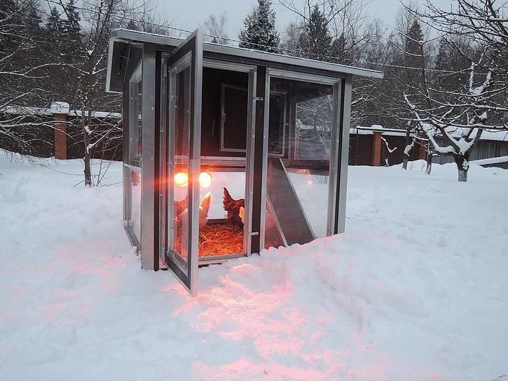 Клетки Профи 2 - Утеплённый домик-курятник с выгулом «Зимняя мечта» на 8-12 кур.